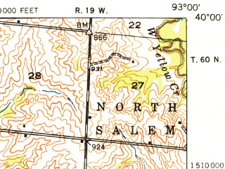 Reduced fragment of topographic map en--usgs--063k--051822--(1948)--N040-00_W093-15--N039-45_W093-00; towns and cities Brookfield, Laclede, Linneus