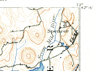 Reduced fragment of topographic map en--usgs--063k--051823--(1890)--N042-15_W072-15--N042-00_W072-00 in area of Quaboag Pond; towns and cities Southbridge, East Brookfield, Fiskdale, Holland