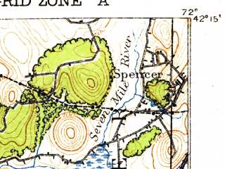 Reduced fragment of topographic map en--usgs--063k--051823--(1921)--N042-15_W072-15--N042-00_W072-00 in area of Quaboag Pond; towns and cities Southbridge, West Brookfield, East Brookfield, Fiskdale