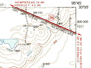Reduced fragment of topographic map en--usgs--063k--051828--(1955)--N030-00_W096-00--N029-45_W095-45; towns and cities Katy, Brookshire, Pattison
