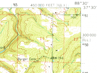 Reduced fragment of topographic map en--usgs--063k--051839--(1962)--N037-30_W088-45--N037-15_W088-30