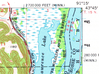 Reduced fragment of topographic map en--usgs--063k--051843--(1956)--N043-45_W091-30--N043-30_W091-15; towns and cities Eitzen, Brownsville, Caledonia