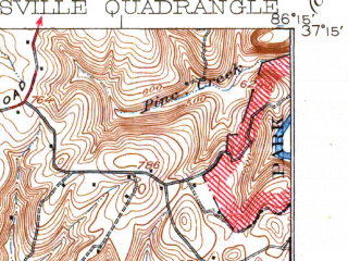 Reduced fragment of topographic map en--usgs--063k--051847--(1923)--N037-15_W086-30--N037-00_W086-15; towns and cities Oakland, Plum Springs, Brownsville