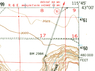 Reduced fragment of topographic map en--usgs--063k--051855--(1947)--N043-00_W116-00--N042-45_W115-45