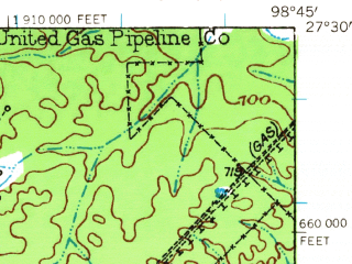 Reduced fragment of topographic map en--usgs--063k--051856--(1939)--N027-30_W099-00--N027-15_W098-45