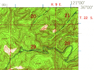 Reduced fragment of topographic map en--usgs--063k--051867--(1948)--N036-00_W121-15--N035-45_W121-00