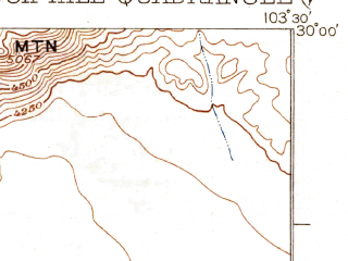Reduced fragment of topographic map en--usgs--063k--051869--(1925)--N030-00_W103-45--N029-45_W103-30