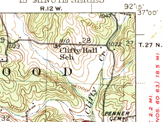 Reduced fragment of topographic map en--usgs--063k--051878--(1945)--N037-00_W092-30--N036-45_W092-15