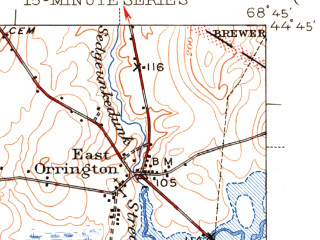 Reduced fragment of topographic map en--usgs--063k--051884--(1948)--N044-45_W069-00--N044-30_W068-45 in area of Silver Lake; towns and cities Bucksport, Hampden, Winterport
