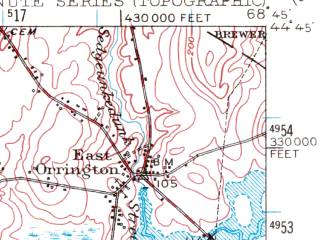 Reduced fragment of topographic map en--usgs--063k--051884--(1955)--N044-45_W069-00--N044-30_W068-45 in area of Silver Lake; towns and cities Bucksport, Hampden, Winterport