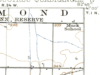 Reduced fragment of topographic map en--usgs--063k--051886--(1915)--N041-00_W083-00--N040-45_W082-45; towns and cities Bucyrus, Tiro, Chatfield, New Washington