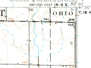 Reduced fragment of topographic map en--usgs--063k--051888--(1921)--N041-30_W089-45--N041-15_W089-30; towns and cities Buda, Manlius, Sheffield