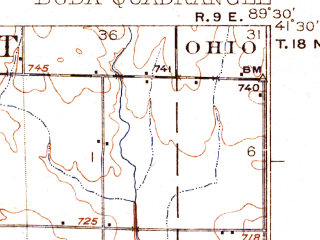 Reduced fragment of topographic map en--usgs--063k--051888--(1923)--N041-30_W089-45--N041-15_W089-30; towns and cities Buda, Manlius, Sheffield