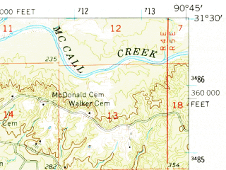 Reduced fragment of topographic map en--usgs--063k--051889--(1962)--N031-30_W091-00--N031-15_W090-45; towns and cities Bude, Meadville