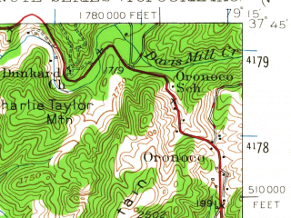 Reduced fragment of topographic map en--usgs--063k--051890--(1950)--N037-45_W079-30--N037-30_W079-15; towns and cities Buena Vista, Glasgow