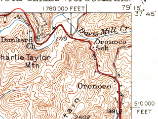 Reduced fragment of topographic map en--usgs--063k--051890--(1952)--N037-45_W079-30--N037-30_W079-15; towns and cities Buena Vista, Glasgow