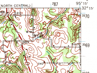Reduced fragment of topographic map en--usgs--063k--051916--(1946)--N032-15_W095-30--N032-00_W095-15; towns and cities Cuney, Noonday, Berryville