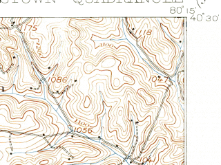 Reduced fragment of topographic map en--usgs--063k--051930--(1904)--N040-30_W080-30--N040-15_W080-15; towns and cities Frankfort Springs, Midway, Burgettstown