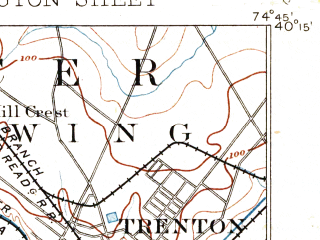 Reduced fragment of topographic map en--usgs--063k--051938--(1893)--N040-15_W075-00--N040-00_W074-45; towns and cities Trenton, Levittown, Bristol, Willingboro, Morrisville