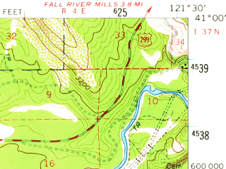 Reduced fragment of topographic map en--usgs--063k--051944--(1957)--N041-00_W121-45--N040-45_W121-30; towns and cities Burney