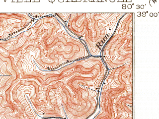 Reduced fragment of topographic map en--usgs--063k--051950--(1906)--N039-00_W080-45--N038-45_W080-30; towns and cities Sand Fork, Burnsville