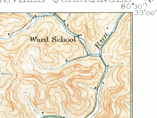 Reduced fragment of topographic map en--usgs--063k--051950--(1925)--N039-00_W080-45--N038-45_W080-30; towns and cities Burnsville, Sand Fork