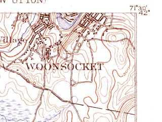 Reduced fragment of topographic map en--usgs--063k--051954--(1889)--N042-00_W071-45--N041-45_W071-30 in area of Scituate Reservoir; towns and cities Woonsocket, Greenville, Pascoag, Harrisville