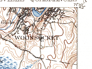 Reduced fragment of topographic map en--usgs--063k--051954--(1894)--N042-00_W071-45--N041-45_W071-30 in area of Scituate Reservoir; towns and cities Woonsocket, Greenville, Pascoag, Harrisville