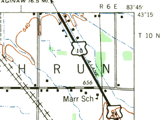 Reduced fragment of topographic map en--usgs--063k--051956--(1943)--N043-15_W084-00--N043-00_W083-45; towns and cities Flushing, Burt, Montrose, New Lothrop