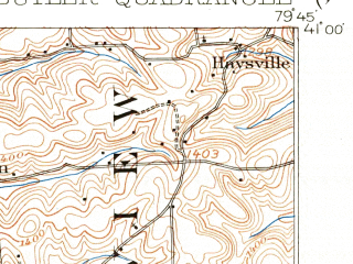 Reduced fragment of topographic map en--usgs--063k--051964--(1909)--N041-00_W080-00--N040-45_W079-45; towns and cities Butler, Homeacre-lyndora, East Butler, Meadowood, Meridian