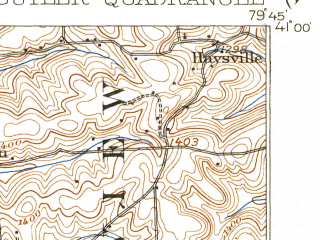 Reduced fragment of topographic map en--usgs--063k--051964--(1911)--N041-00_W080-00--N040-45_W079-45; towns and cities Butler, Homeacre-lyndora, Nixon, Oak Hills, Saxonburg