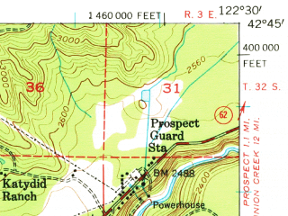 Reduced fragment of topographic map en--usgs--063k--051970--(1954)--N042-45_W122-45--N042-30_W122-30 in area of Lost Creek Lake; towns and cities Butte Falls