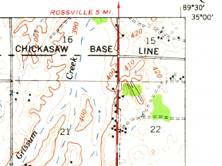 Reduced fragment of topographic map en--usgs--063k--051980--(1948)--N035-00_W089-45--N034-45_W089-30; towns and cities Byhalia