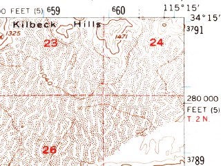 Reduced fragment of topographic map en--usgs--063k--052001--(1956)--N034-15_W115-30--N034-00_W115-15