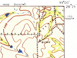 Reduced fragment of topographic map en--usgs--063k--052004--(1957)--N028-15_W099-15--N028-00_W099-00