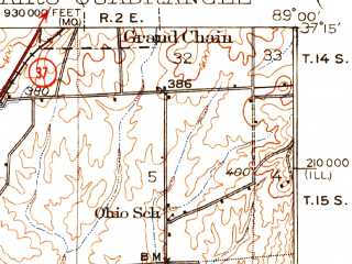 Reduced fragment of topographic map en--usgs--063k--052007--(1931)--N037-15_W089-15--N037-00_W089-00; towns and cities Olmsted, Pulaski, Barlow