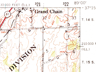 Reduced fragment of topographic map en--usgs--063k--052007--(1953)--N037-15_W089-15--N037-00_W089-00; towns and cities Olmsted, Pulaski, Barlow