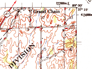 Reduced fragment of topographic map en--usgs--063k--052007--(1955)--N037-15_W089-15--N037-00_W089-00; towns and cities Barlow, Mound City, Mounds