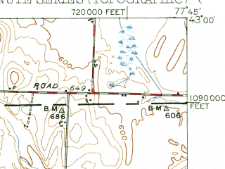 Reduced fragment of topographic map en--usgs--063k--052015--(1951)--N043-00_W078-00--N042-45_W077-45; towns and cities Geneseo, Caledonia, Le Roy, Leicester