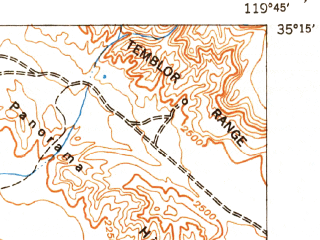Reduced fragment of topographic map en--usgs--063k--052024--(1952)--N035-15_W120-00--N035-00_W119-45