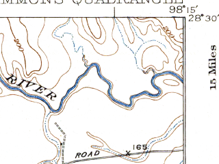Reduced fragment of topographic map en--usgs--063k--052034--(1929)--N028-30_W098-30--N028-15_W098-15