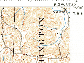 Reduced fragment of topographic map en--usgs--063k--052040--(1909)--N040-15_W081-45--N040-00_W081-30; towns and cities Cambridge, Kimbolton, Plainfield