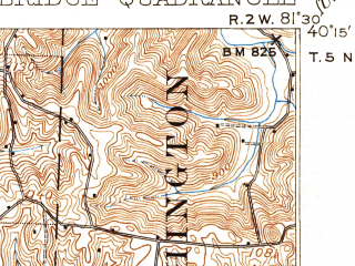 Reduced fragment of topographic map en--usgs--063k--052040--(1912)--N040-15_W081-45--N040-00_W081-30; towns and cities Cambridge, Kimbolton, Plainfield