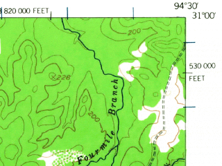 Reduced fragment of topographic map en--usgs--063k--052048--(1955)--N031-00_W094-45--N030-45_W094-30; towns and cities Chester