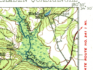 Reduced fragment of topographic map en--usgs--063k--052049--(1938)--N034-30_W080-45--N034-15_W080-30; towns and cities Camden
