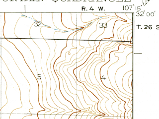 Reduced fragment of topographic map en--usgs--063k--052050--(1917)--N032-00_W107-30--N031-45_W107-15