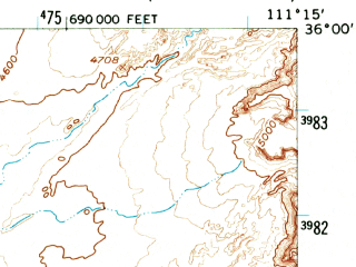Reduced fragment of topographic map en--usgs--063k--052056--(1955)--N036-00_W111-30--N035-45_W111-15; towns and cities Cameron