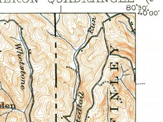 Reduced fragment of topographic map en--usgs--063k--052058--(1942)--N040-00_W080-45--N039-45_W080-30; towns and cities Moundsville, Cameron, Mcmechen