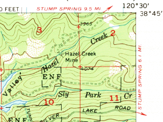 Reduced fragment of topographic map en--usgs--063k--052061--(1952)--N038-45_W120-45--N038-30_W120-30 in area of Jenkinson Lake, Weber Res.
