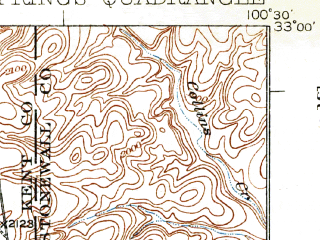 Reduced fragment of topographic map en--usgs--063k--052065--(1932)--N033-00_W100-45--N032-45_W100-30